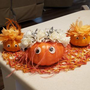 Hand Decorated Pumpkin Bride and 2 Bridemaids